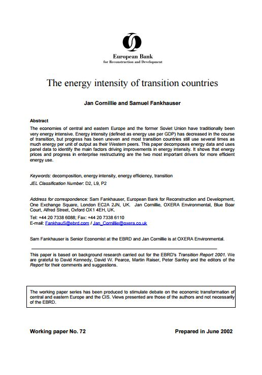 The Energy Intensity of Transition Countries