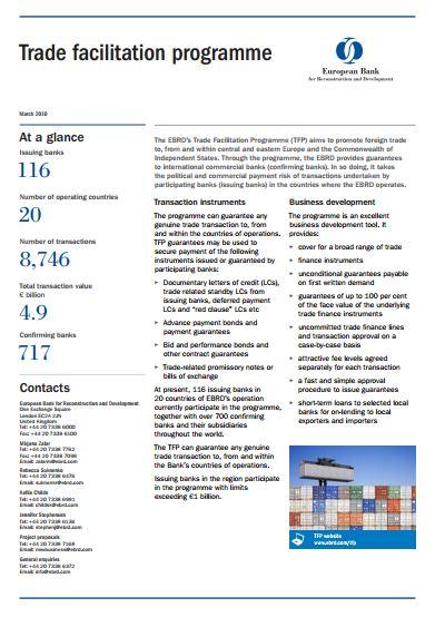 Fact Sheet: The EBRD's Trade Facilitation Programme
