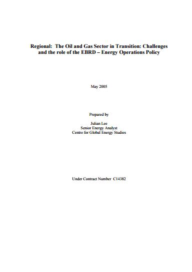 The Oil and Gas Sector in Transition: Challenges and the Role of the EBRD – Energy Operations Policy