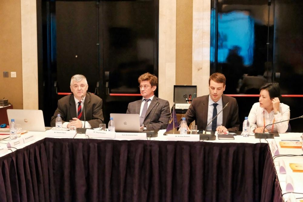 (From left to right): Radomir Djuric, trade facilitation expert (resource person); Oleg Samukhin, transport specialist, CWTC; Kristian Rosbach, economist (regional cooperation), CWRC.