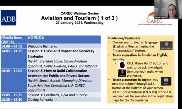CAREC First Aviation and Tourism Webinar